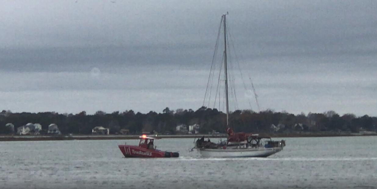 Sailboat hard aground @ New River