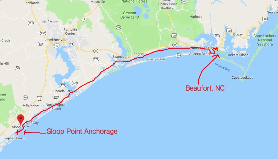 Route Leg From Beaufort to Sloop Point Anchorage