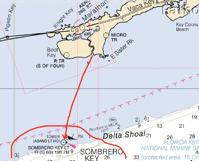 Chart out to Sombrero Reef