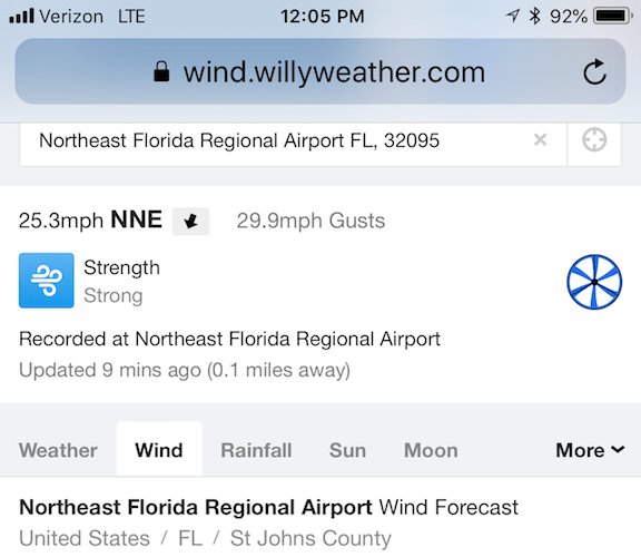 30 mph Wind Gusts at NE FL Regional Airport