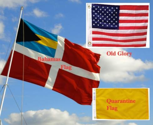 Bahamas, quarantine and American Flags